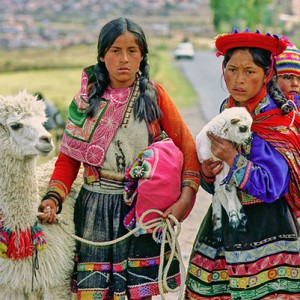 Two Peruvian girls with a llama