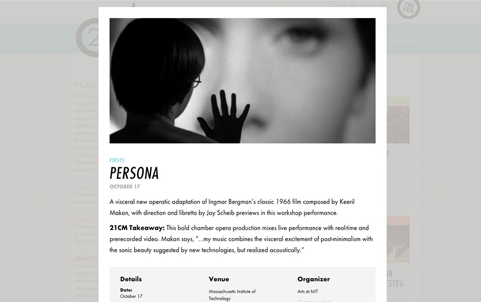 Screen shot of the 21cm.org Go Guide event, Persona