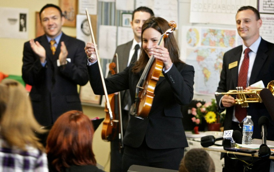 New instruments presented to a local elementary school orchestra