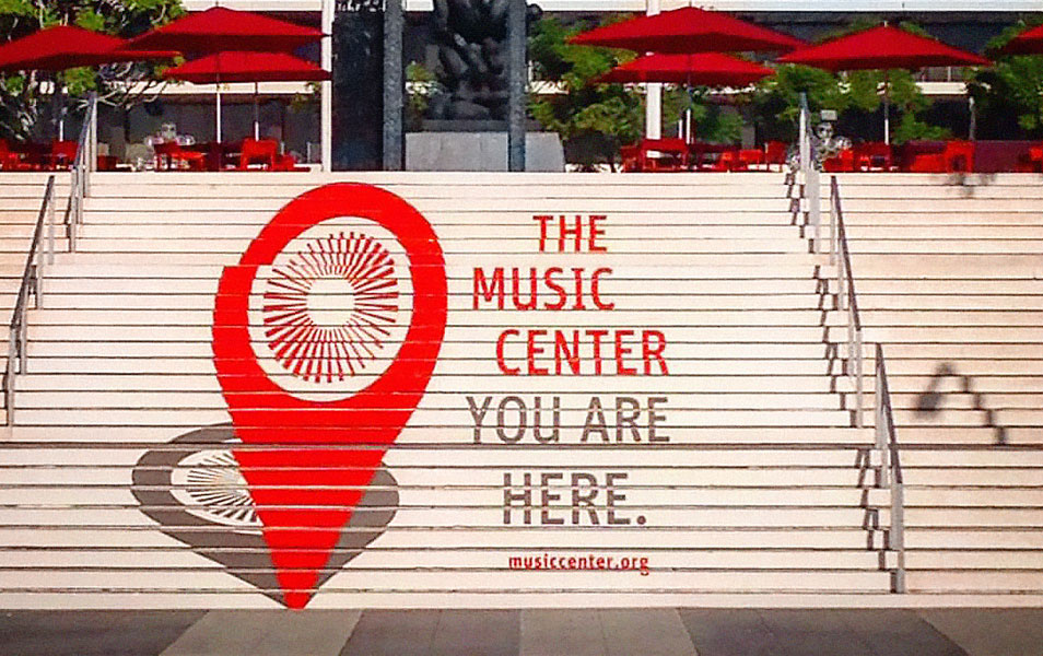 The Music Center plaza stairs with map marker graphic