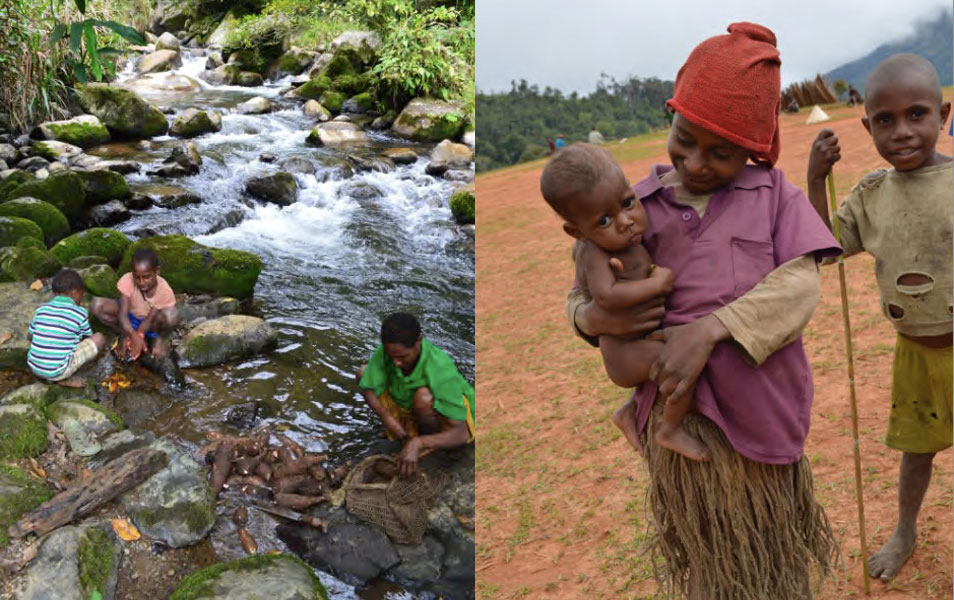 Three people wash taro in a river, and a child holds a chronically ill two-year old baby.
